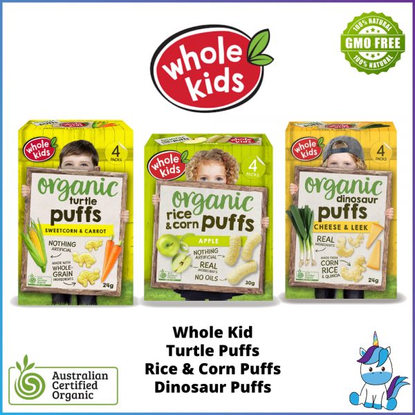 Whole Kids Organic Puffs Turtle / Dinosaur / Rice & Corn / Cheese & Leek / Sweetcorn & Carrot - ACO Certified Organic Halal - Made in Australia