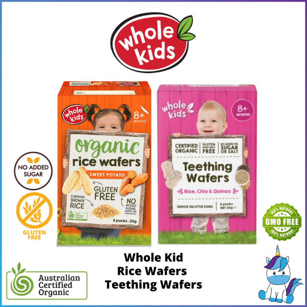 (Gluten Free) Whole Kids Organic Rice Wafers / Teething Wafers - ACO Certified Organic  (8+M) Made in Thailand