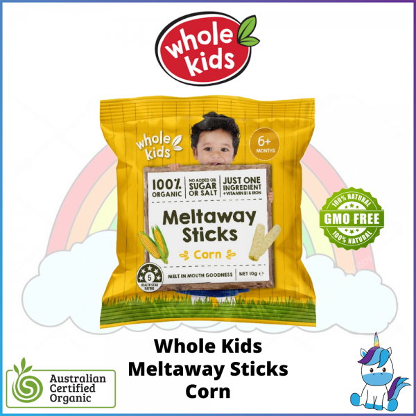 Whole Kids Meltaway Sticks - Corn - ACO Certified Organic - Made in Australia