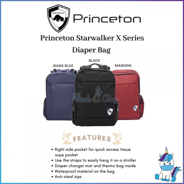 Princeton Starwalker X Series Baby Diaper Bag - Maroon / Black / Jeans Blue - Lifetime Warranty
