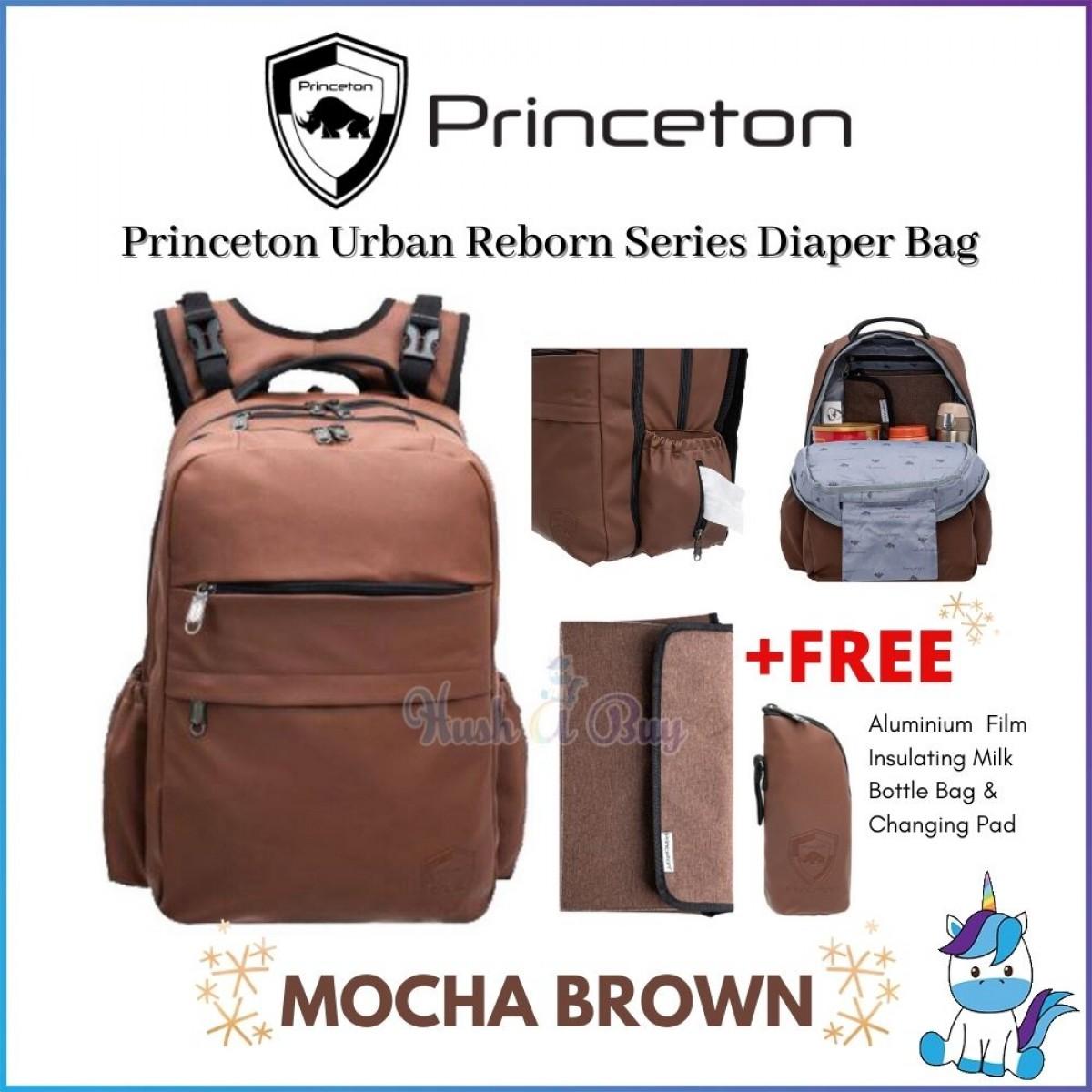 Princeton Urban Reborn Series Baby Diaper Bag - Mocha Brown / Black - Lifetime Warranty