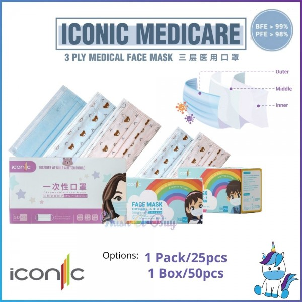 Iconic Premium Quality Special Edition Bear 3ply Cute Disposable Face Mask for Kids / Adults - Mix & Match [Product of Malaysia]