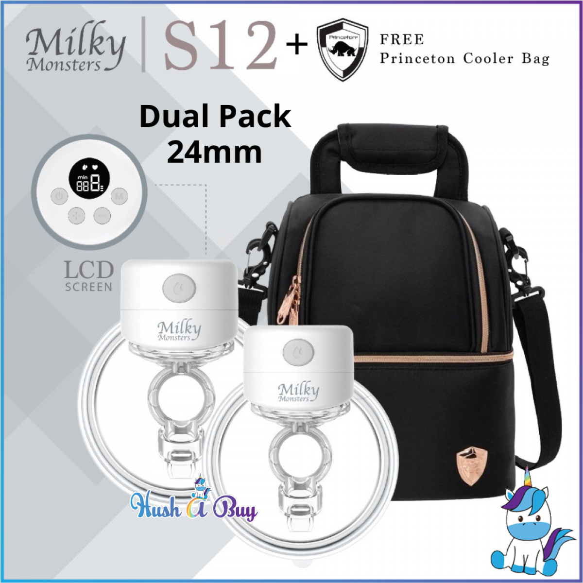 Milky Monsters Wearable Breast Pump S12 with LED Screen - Single/Double - 24mm/27mm (1 Year Warranty)