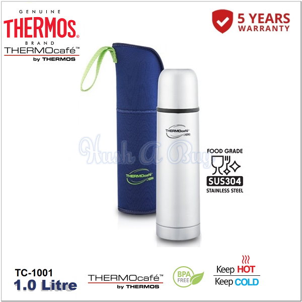 Thermos Thermocafe Stainless Steel Vacuum Insulated Tumbler with Pouch 1.0L