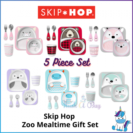 Skip Hop Zoo Winter Mealtime Gift Set - Kids Plates / Bowl / Spoon / Fork / Cup - 5 Piece Set - Kids Gift (6M+)