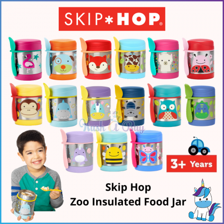 Skip Hop Zoo Insulated Children Cute Food Jar 325ml - Kids Food Jar and Utensils - Keep Warm and Cold (3Y+)