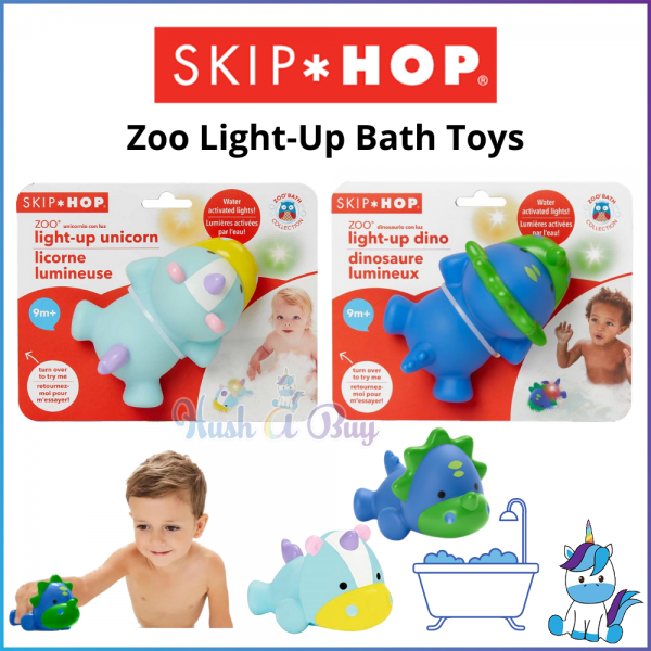 Skip Hop Zoo Light-Up Cute Soft Bath Toys - Unicorn / Dino - Kids Bath and Toys (9M+)
