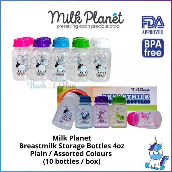 Milk Planet Standard Breastmilk Storage Bottles - Plain / Assorted Colours - 4oz / 120ml - 10 bottles / box