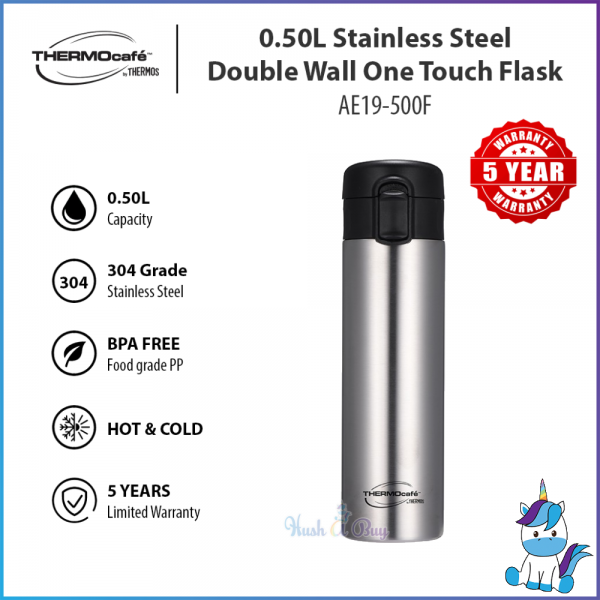 Thermos Thermocafe Stainless Steel Vacuum Insulated Double Wall One Touch Flask [AE19-500F] - 500ml - Keep Warm and Cold