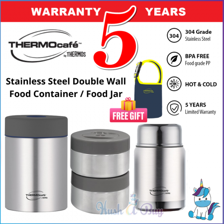 Thermos Thermocafe Stainless Steel Double Wall Food Container 930ml AE19-930FC(P) / Food Jar 500ml AE19-500FJ(P) - Keep Warm and Cold - FREE POUCH