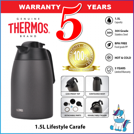 Thermos Vacuum Insulated Stainless Steel Lifestyle Carafe THV Series 1.5L (THV-1501) - Keep Warm and Cold