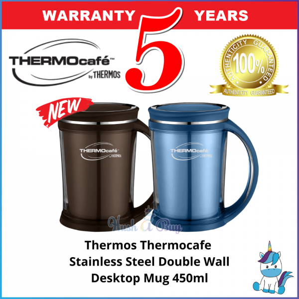 (NEW) Thermos Thermocafe Stainless Steel Double Wall Desktop Mug / Office Mug 450ml SH2021 - Keep Warm and Cold - 5 Years Warranty