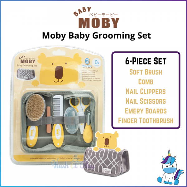 Baby Moby Baby Grooming Set - 6 Pieces Set - Baby Care & Hygiene - FREE STORAGE POUCH