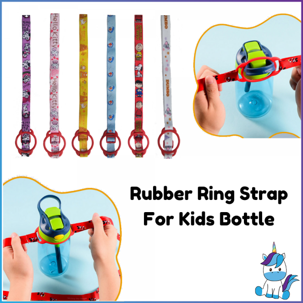 Rubber Ring Kids Bottle Strap - Suitable For Many Types of Kids Bottles - Stretchable Ring - Adjustable Length