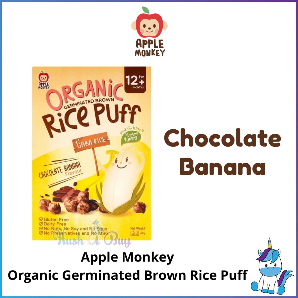Apple Monkey Organic Germinated Brown Rice Puffs - Baby Snacks and Foods - Suitable for 12 Months Old and Above