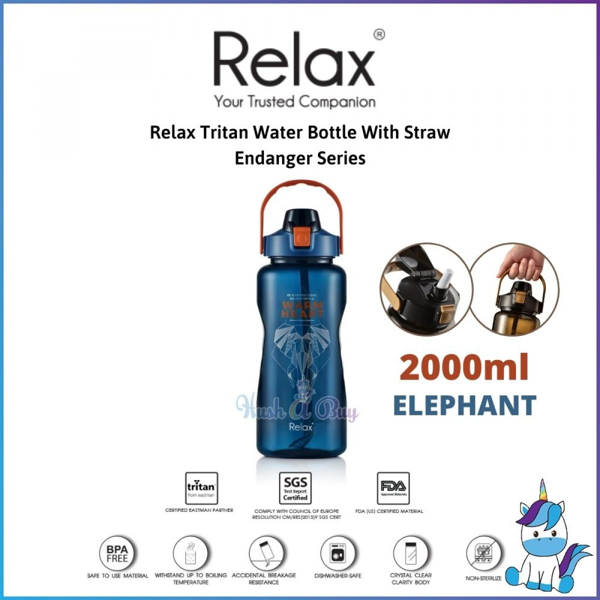 Relax Tritan Water Bottle With Straw 1500ml/2000ml - Endanger Series - Straw Water Bottle - Outdoor Bottle