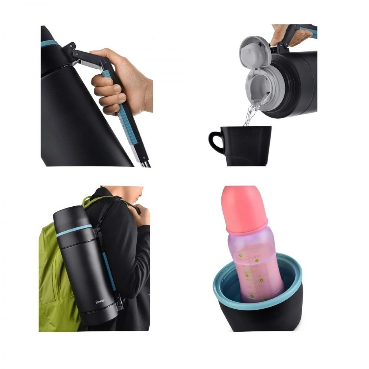 Relax D3520-08 Travelling Thermos Flask - 2000ml Tea, Water, And Coffee Dispenser - Thermal Flask - Keep Warm & Cold