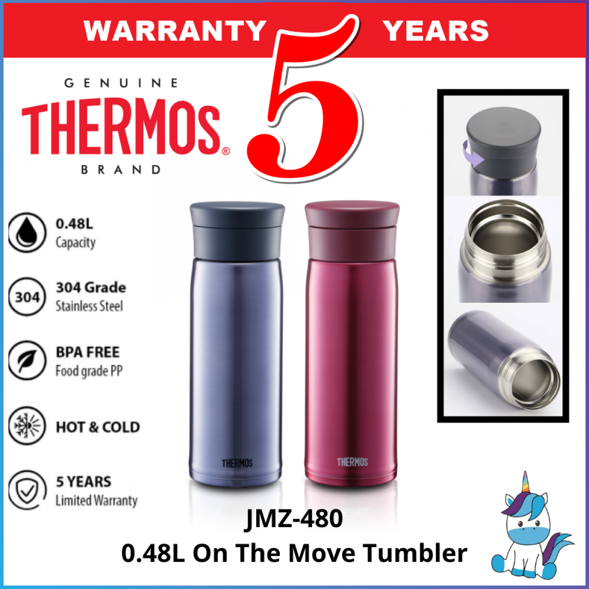 Thermos JMZ-480 On The Move Tumbler / Flask 0.48L - Thermos Flask - Keep Warm and Cold