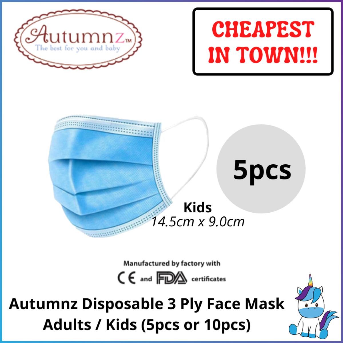 Autumnz Disposable 3ply Adults / Kids Face Mask 5pcs / 10pcs - Earloop - Suitable for Adults or Kids