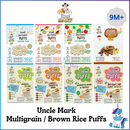 HALAL - Uncle Mark Organic Multigrain Puffs / Sprouted Brown Rice Puffs - Baby Snacks - 9 Months+ (Expiry: Aug 2021)