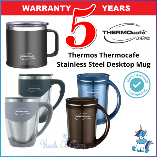Thermos Thermocafe Stainless Steel Double Wall Office Mug / Desktop Mug 375ml / 450ml - Keep Warm and Cold - 5 Years Warranty