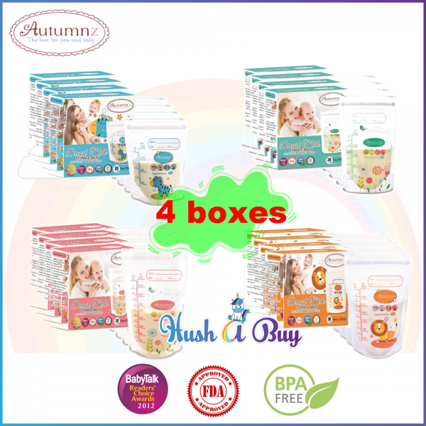4 BOXES Autumnz Double ZipLock Breastmilk Storage Bag / Bag Susu (28 Bags) 5oz / 7oz / 10oz / 12oz