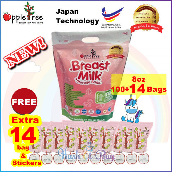Appletree Milk Storage Bag / Breastmilk Bag / Beg Susu / Breast Milk Bag 100+15 PCS (8oz)