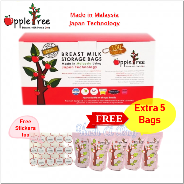 Appletree Milk Storage Bag 100+5 PCS (8oz)