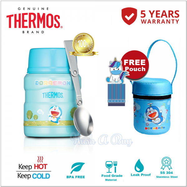 Thermos SK Series Stainless King Food Jar with Spoon 470ml - Doraemon FREE FoodJar Pouch
