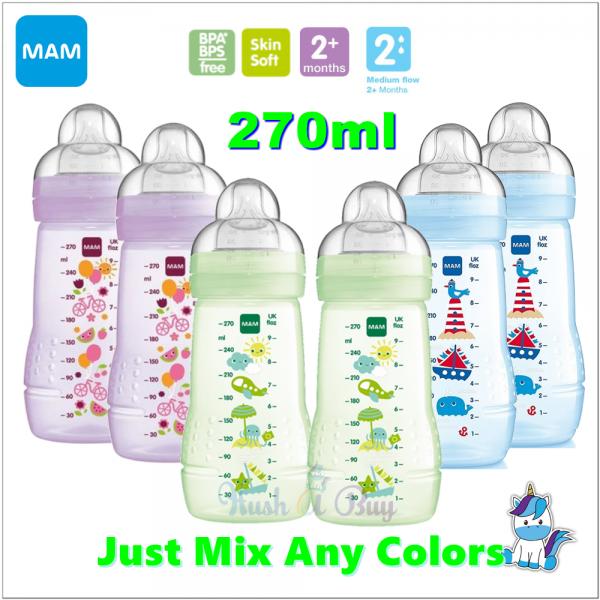 MAM Easy Active Baby Feeding Bottle 270ml - Double Pack