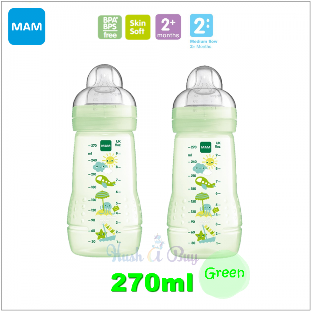 3183ff3c9573 ... MAM Easy Active Baby Feeding Bottle 270ml with Teat Size 2 - Double  Pack ...