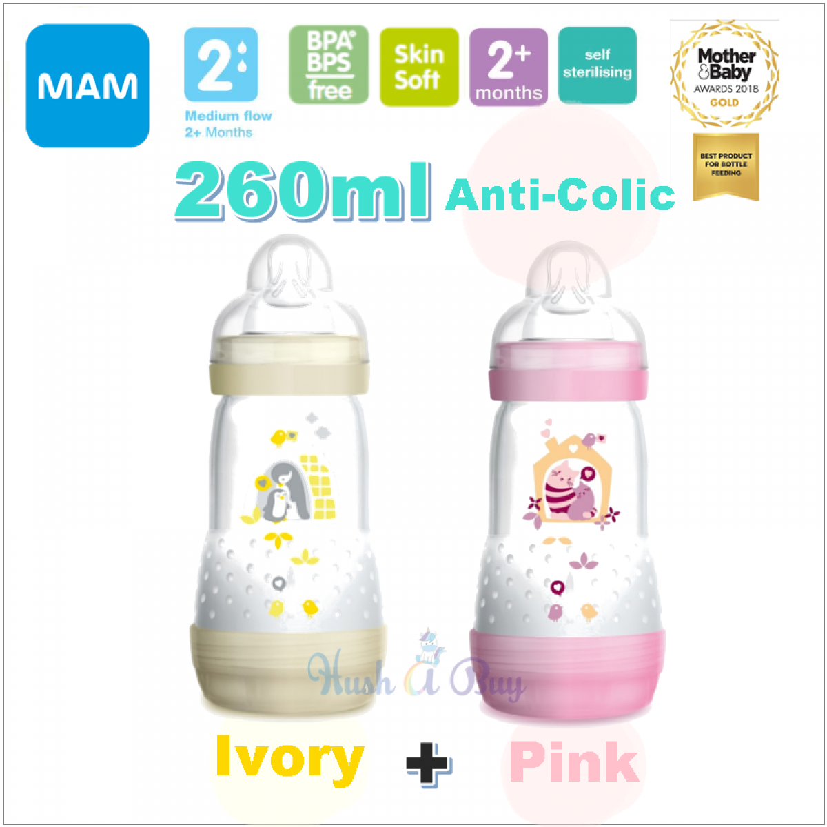 Hush A Buy Mam Authorized Reseller Anti Colic 260ml 1 Get Free Bottle Pink Easy Start Double Pack