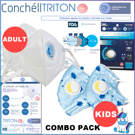 READY STOCK Conchell TRITON - Antibacteria Reusable Facemask Face Mask N95  PM2.5 Protection from Haze Jerebu