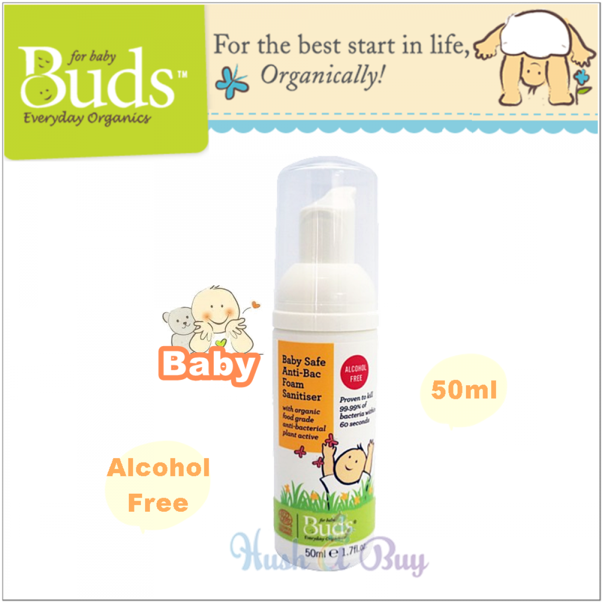 Buds Anti-Bac Foam Sanitiser 50ml (Rinse Free)