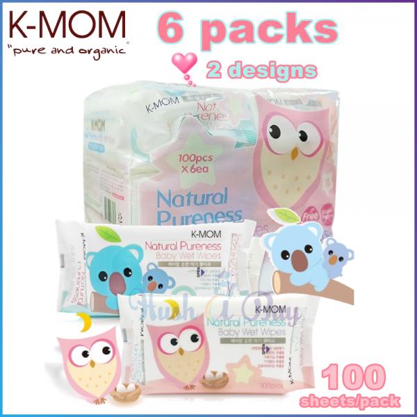 K-MOM Naturefree Wet Tissues Basic 100's - Pack of 6