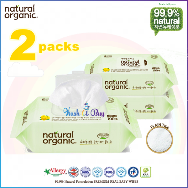 Natural Organic Baby Wipes Original Plain/Embo with Cap 100's (2 Packs)