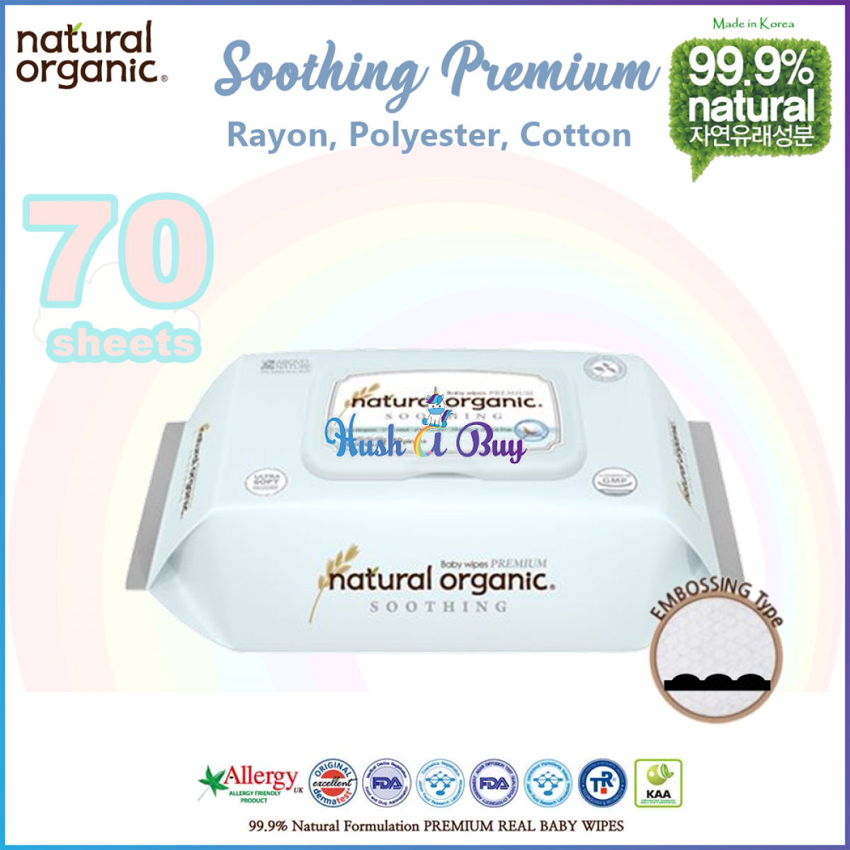 Nature Organic Baby Wipes Soothing Premium with Cap