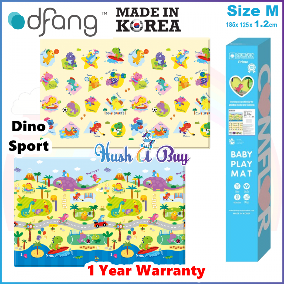 Comflor Prime BabyCare Premium PVC Mat (185cmx125cmx1.2cm ) Size M - Made in Korea - 1 Year Warranty