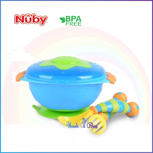 Nuby Wacky Ware Combo Set - PP Suction Bowl, Fork & Spoon Set