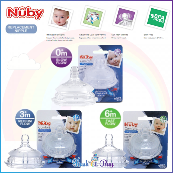 Nuby Comfort Silicone Bottle Replacement Nipple 1pk (3 sizes available)