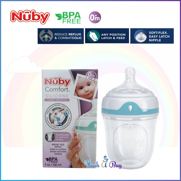 Nuby Comfort Silicone Bottle with Slow Flow Silicone Comfort Nipple and Cover 150ml