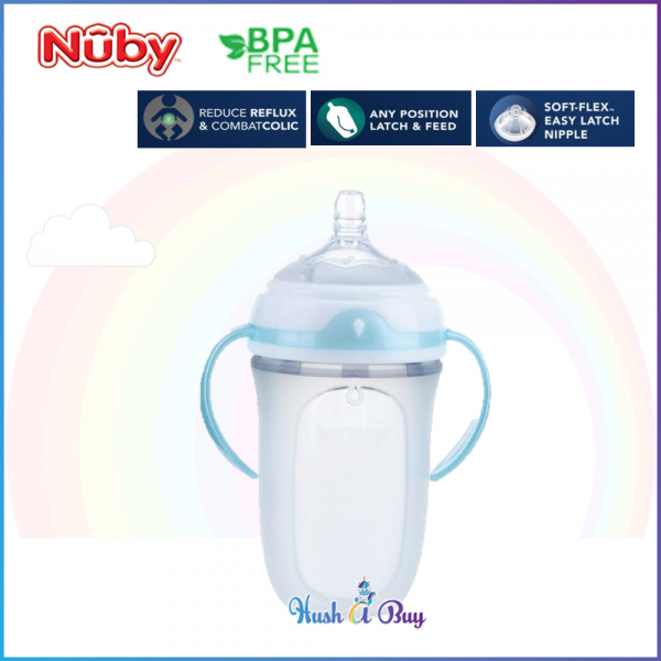 Nuby Comfort Silicone Trainer Bottle With Medium Flow Nipple, Pp Handles, And Pp Cover 250ML