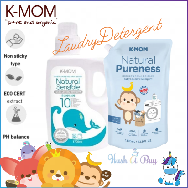K-MOM USDA Organic Nature Pureness Laundry Detergent Bottle 1700ml +  Refill 1300ml Combo Best Buy Pack
