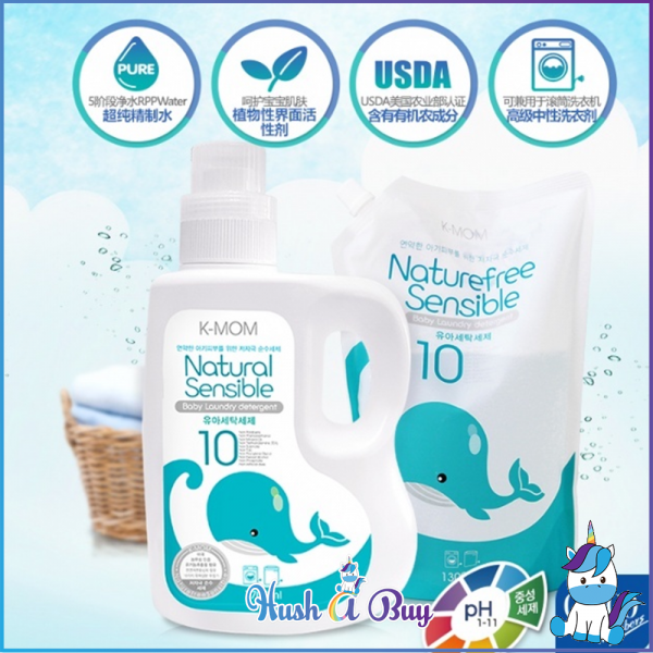 K-MOM USDA Organic Laundry Detergent Bottle 1700ml or Refill 1300ml