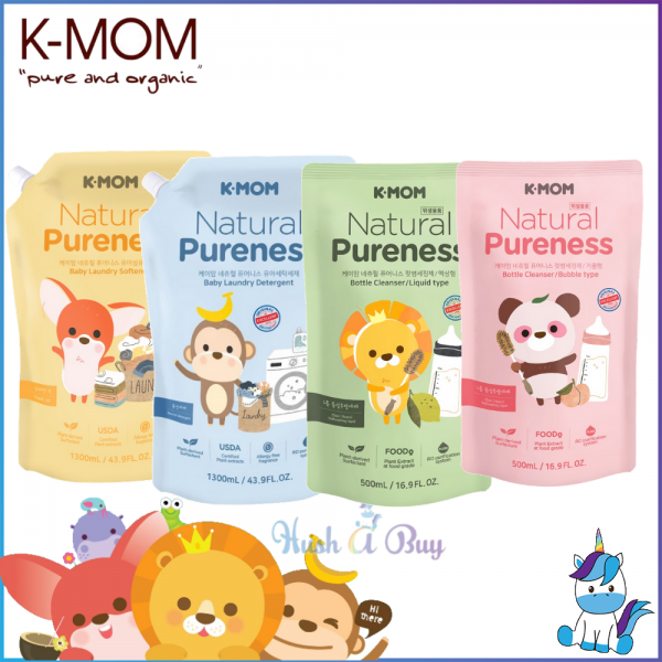 K-MOM USDA Organic Baby Laundry Detergent / Fabric Softener Refill Pack  - New Packaging