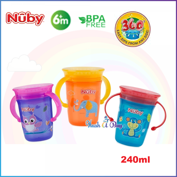 Nuby 360º Wonder Cup 240ml with Handle ( 3 colors available)
