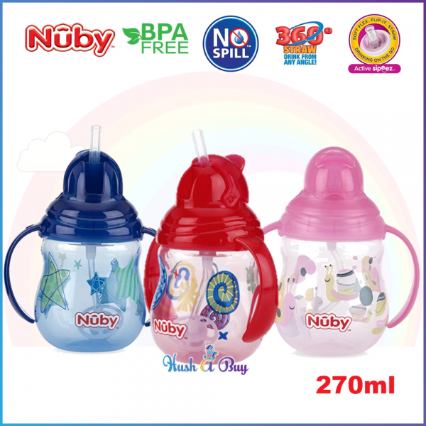 Nuby Designer Pinpoint 2 Handle CLICK-IT Trainer Cup with Weighted Straw 270 ml