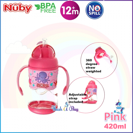 Nuby Tritan Flip It with 3D Vinyl Wrap with Weighted Straw Cup 400ml- Pink