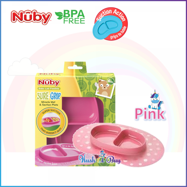 Nuby Suregrip Mat with Section Plate - Pink