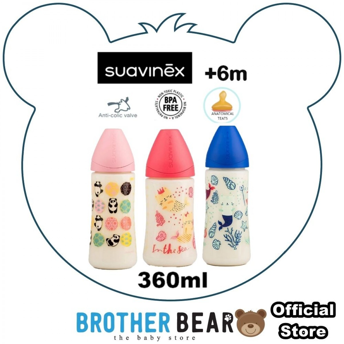 Suavinex Feeding Bottle +6M Medium Flow with Anatomical Teat 360ml